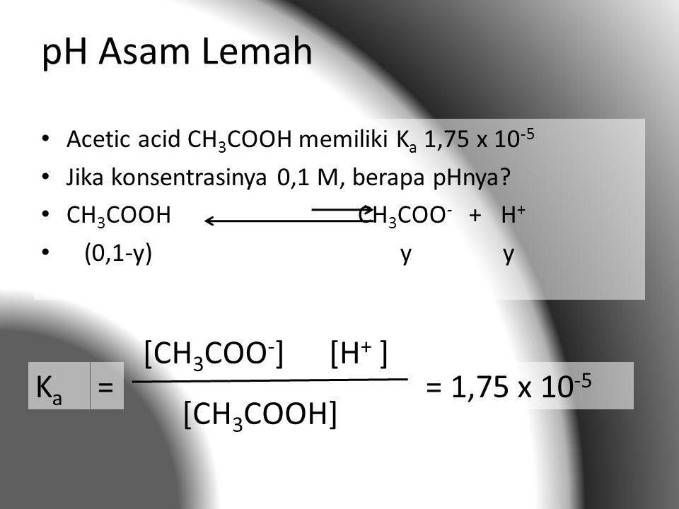 pH Asam Lemah Ka = [CH3COO-] [H+ ] [CH3COOH] = 1,75 x 10-5